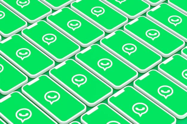 Logotipo do whatsapp nas telas do smartphone em renderização 3d Foto Premium