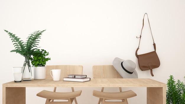 Loja de café ou espaço de trabalho limpo design - renderização em 3d Foto Premium
