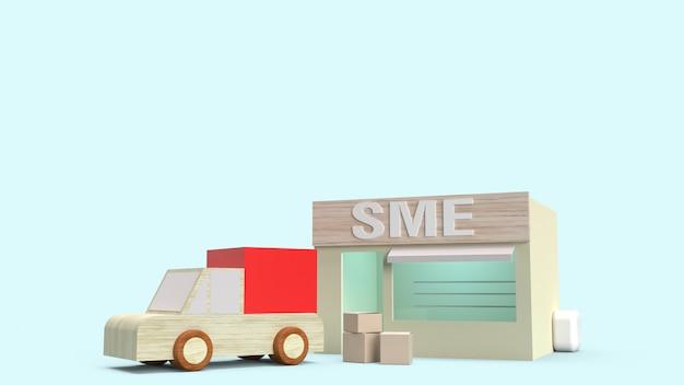 Loja e caixa para transportar renderização em 3d para o conceito de sme. Foto Premium