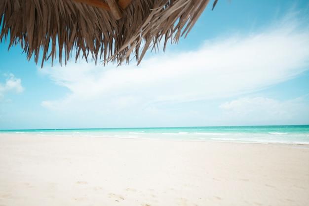 Long shot praia exótica com guarda-chuva de palma Foto gratuita