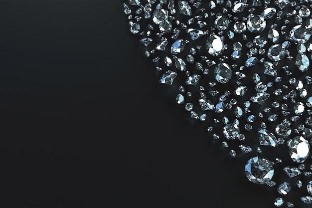 Lotes de pedras espalhadas no lado por ondas em um fundo preto. ilustração 3d Foto Premium