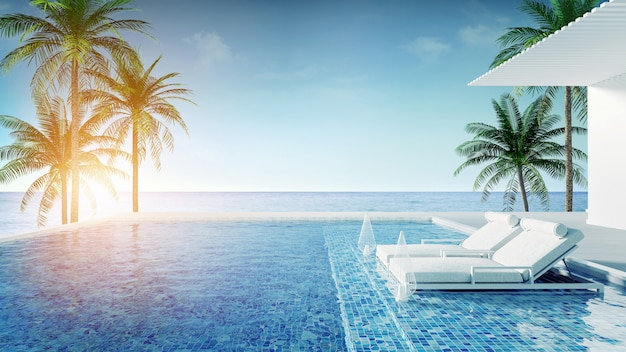 Lounge da praia, espreguiçadeiras no deck para banhos de sol e piscina privativa com vista panorâmica do mar na villa de luxo / renderização em 3d Foto Premium