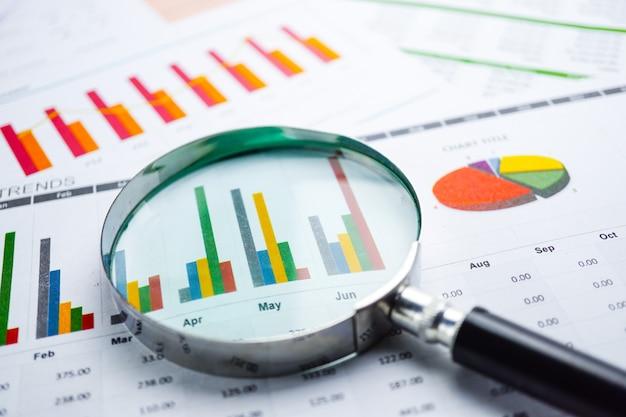 Lupa em papel de planilha de gráficos de gráficos. desenvolvimento financeiro. Foto Premium