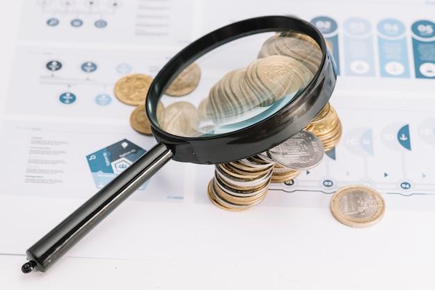 Lupa sobre as moedas no modelo infográfico Foto gratuita