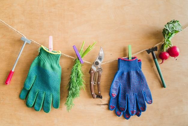 Luvas de jardinagem; ferramentas; endro colhido; nabo pendurado na corda com pregador contra a parede de madeira Foto gratuita