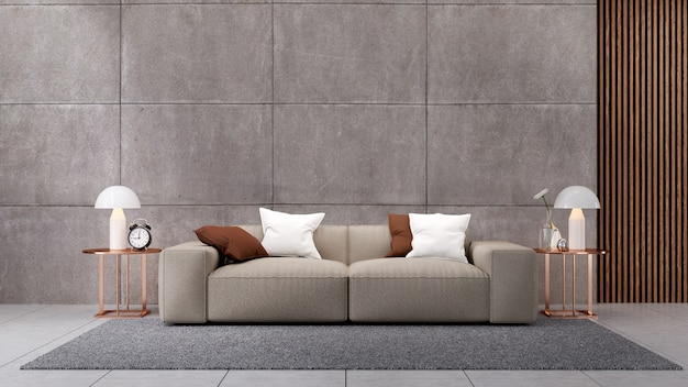 Luxo Moderno Da Sala De Estar Sofa Marrom No Piso De Concreto