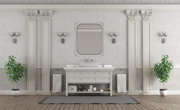 Luxuosa casa de banho branca e cinza Foto Premium
