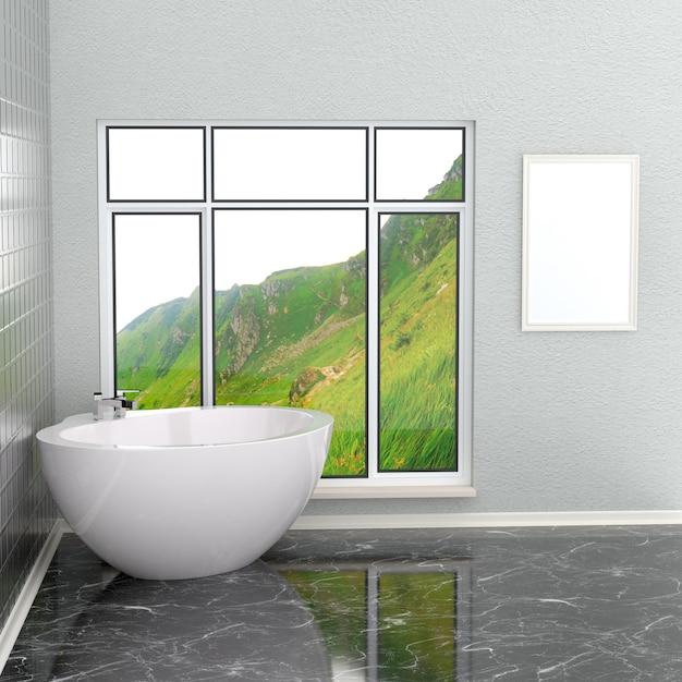 Luxuosa casa de banho moderna branca com moldura vazia Foto Premium