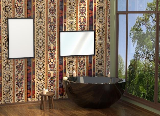Luxuosa casa de banho moderna branca com quadros vazios Foto Premium