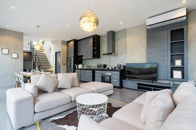 Luxuosa sala de estar em loft villa, apartamento e cobertura Foto Premium