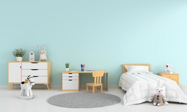 Luz azul crianças quarto interior de cama para maquete Foto Premium