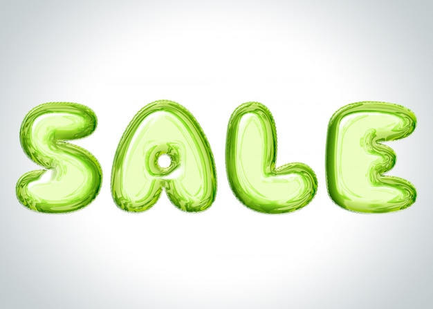 Luz cinza banner com letras de balão verde dizendo venda Foto Premium