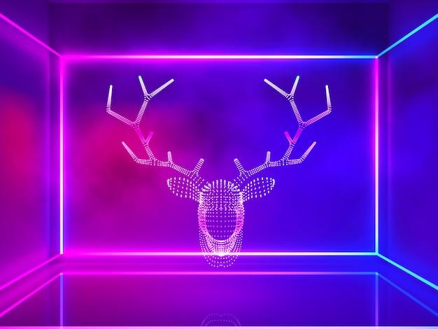 Luz de néon de cabeça de rena com fumaça e retângulo linha, natal e feliz ano novo concep Foto Premium