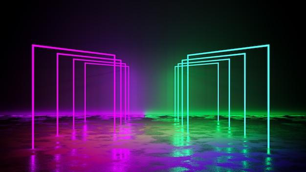 Luz de néon roxo e verde com blackground e piso de concreto, render 3d Foto Premium