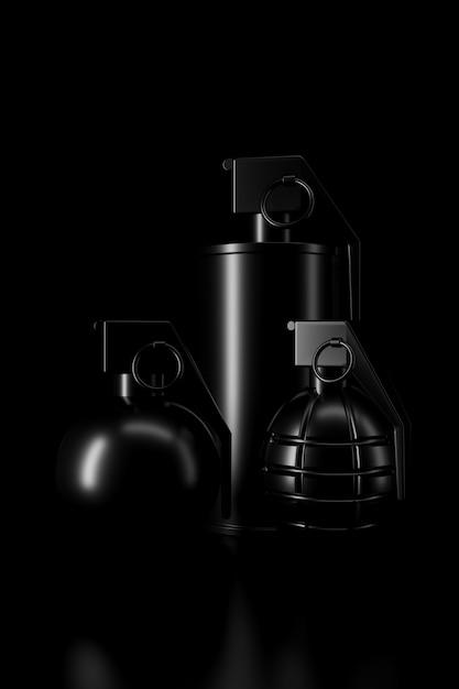 Luz e sombra de granada na escuridão. renderização em 3d. Foto Premium