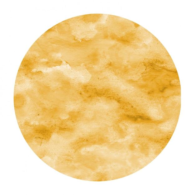 Luz laranja mão desenhada textura de quadro circular aquarela com manchas Foto Premium