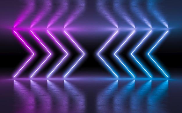 Luzes de incandescência de néon roxas e azuis abstratas do fundo na sala escura vazia com reflexão. Foto Premium