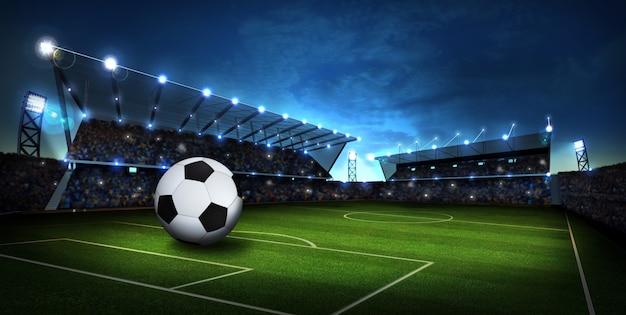 Luzes no estádio com bola de futebol. fundo do esporte. 3d render Foto Premium