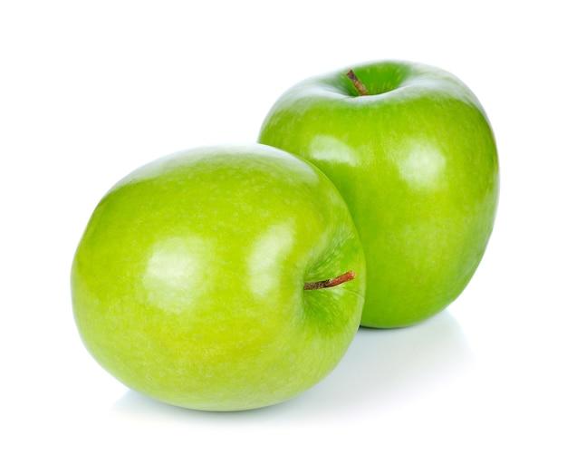 Maçã verde, isolado no fundo branco Foto Premium