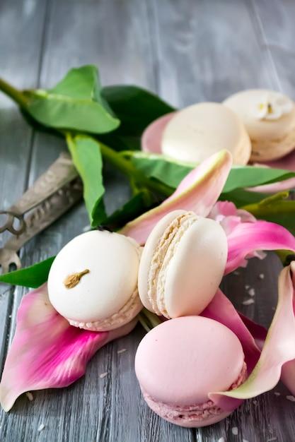 Macarons de baunilha doce francês Foto Premium