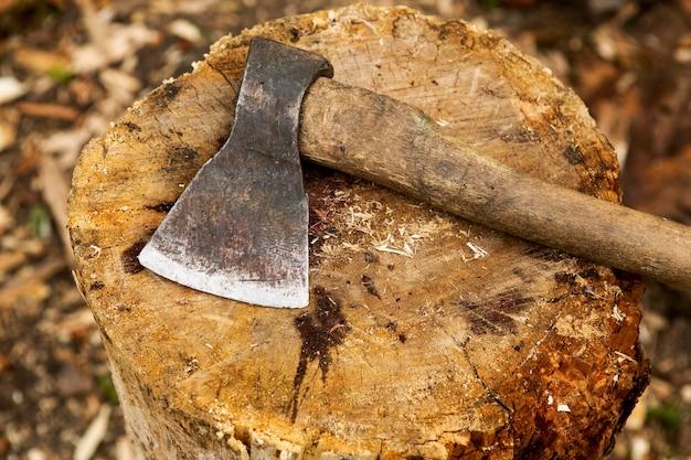 Machado de corte de madeira de close-up Foto gratuita