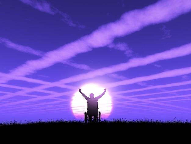 Macho 3d na cadeira de rodas com os braços levantados contra uma paisagem do por do sol roxa Foto gratuita