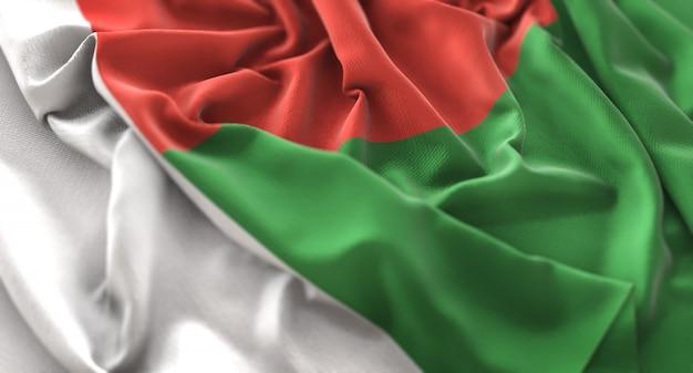 Madagascar flag ruffled beautifully waving macro close-up shot Foto gratuita