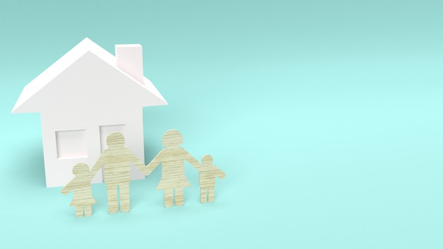 Madeira de grupo familiar cortado para o conceito de casa. Foto Premium