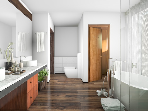 Madeira de renderização 3d e telha banheiro design perto da janela de uma cortina Foto Premium