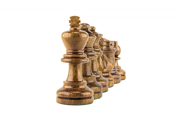 Madeira de xadrez em fundo branco, foco seletivo Foto Premium