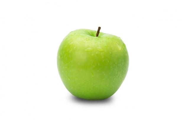 Maduras maçãs verdes inteiras, isoladas no fundo branco com traçado de recorte Foto Premium