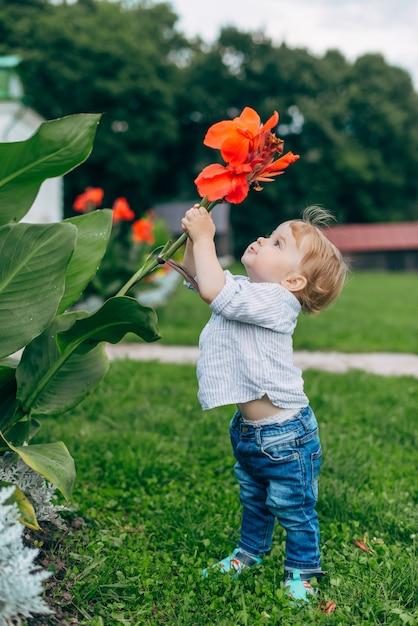 Mãe e filho assistindo flores Foto Premium