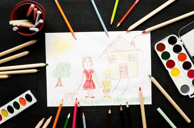 Mãe solteira, desenho em fundo preto Foto gratuita