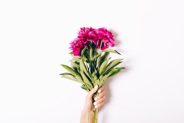 Magnífico buquê de peônias brilhantes em uma mão feminina em um fundo branco Foto Premium