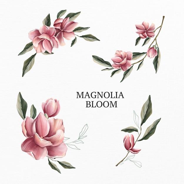 Magnolia bloom conjunto aquarela Foto Premium