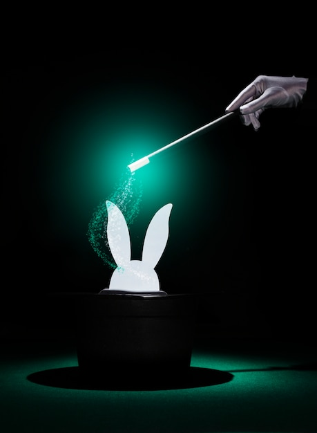 Mago ou ilusionista está mostrando truque de mágica Foto gratuita