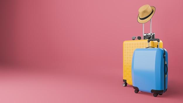 Mala amarela e azul com chapéu de sol e óculos, câmera, conceito de viagens Foto Premium