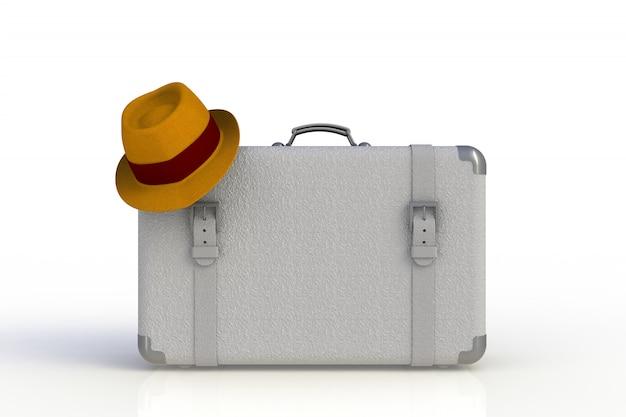Mala de um viajante com chapéu de palha isolado no fundo branco Foto Premium
