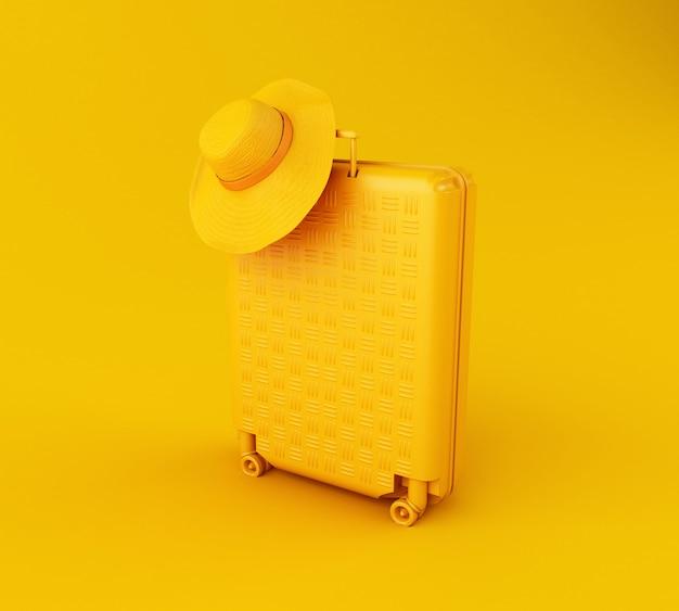 Mala de viagem 3d e chapéu de palha Foto Premium
