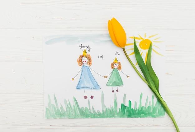 Mamãe e eu inscrição com pintura Foto gratuita