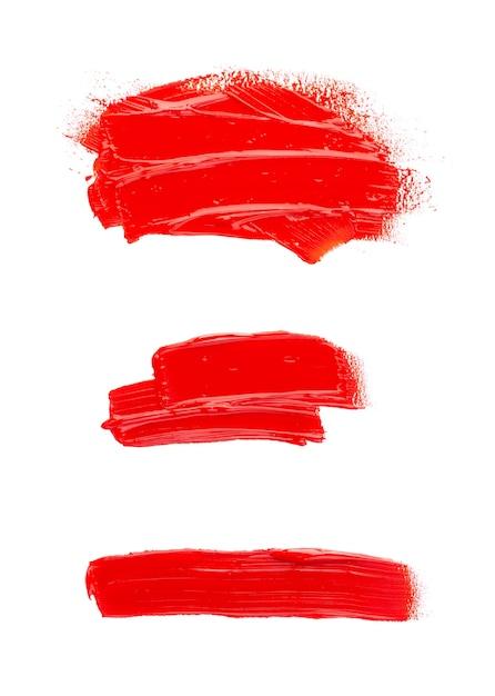 Mancha de tinta a óleo isolada no espaço em branco. coleção de pinceladas de acrílico abstratas. Foto Premium