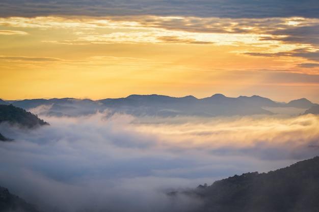 Manhã, cena, amanhecer, paisagem, manhã, com, nevoeiro, amanhecer, sobre, nebuloso Foto Premium