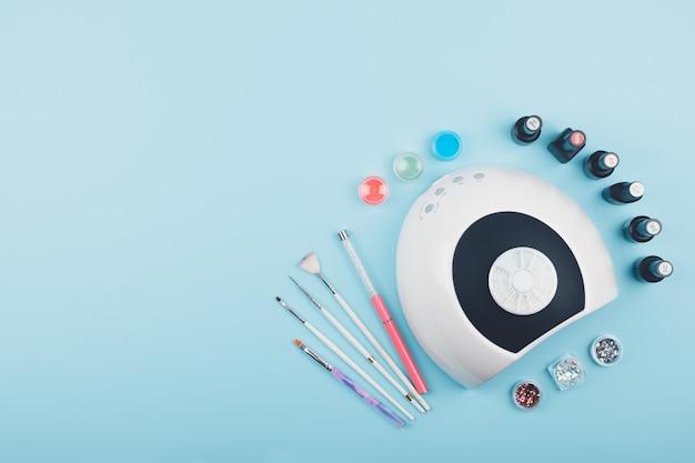 Manicure, design de arte do prego plana lay Foto Premium