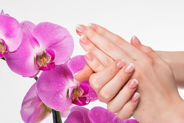 Manicure francesa e flor de orquídea Foto Premium