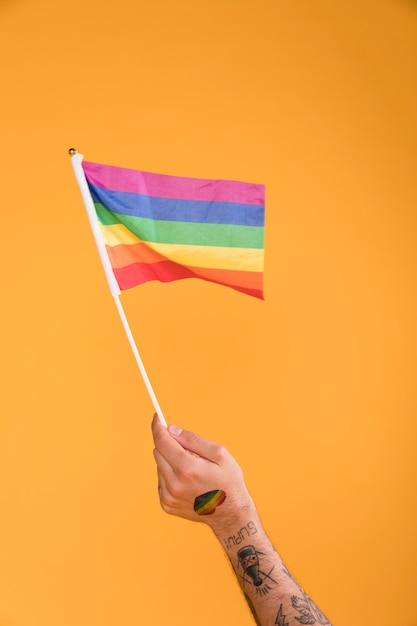 Mão acenando com bandeira lgbt Foto gratuita
