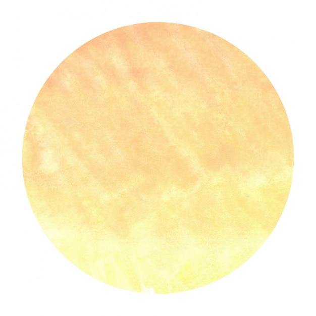 Mão amarela quente desenhada textura de fundo quadro aquarela circular com manchas Foto Premium
