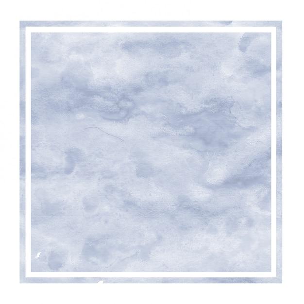Mão azul escuro desenhado textura de fundo retangular aquarela moldura com manchas Foto Premium