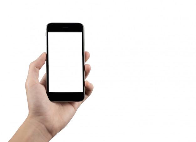 Mão colhida segurando o telefone móvel Foto Premium