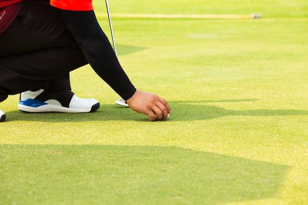 Mão, colocando a bola de golfe no tee no campo de golfe Foto Premium