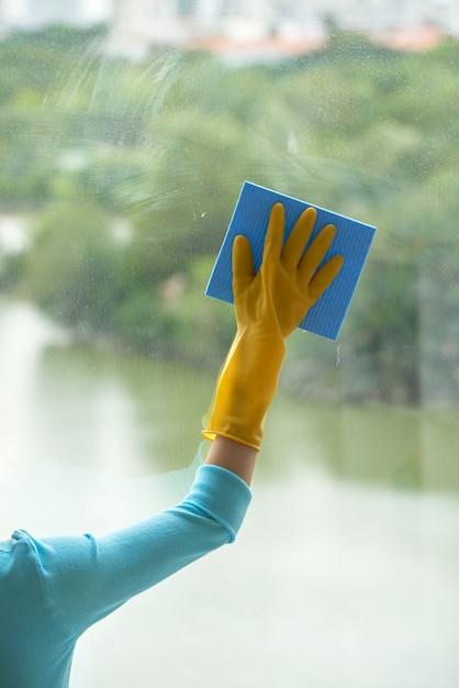 Mão cortada de mulher irreconhecível, limpeza de janela panorâmica Foto gratuita